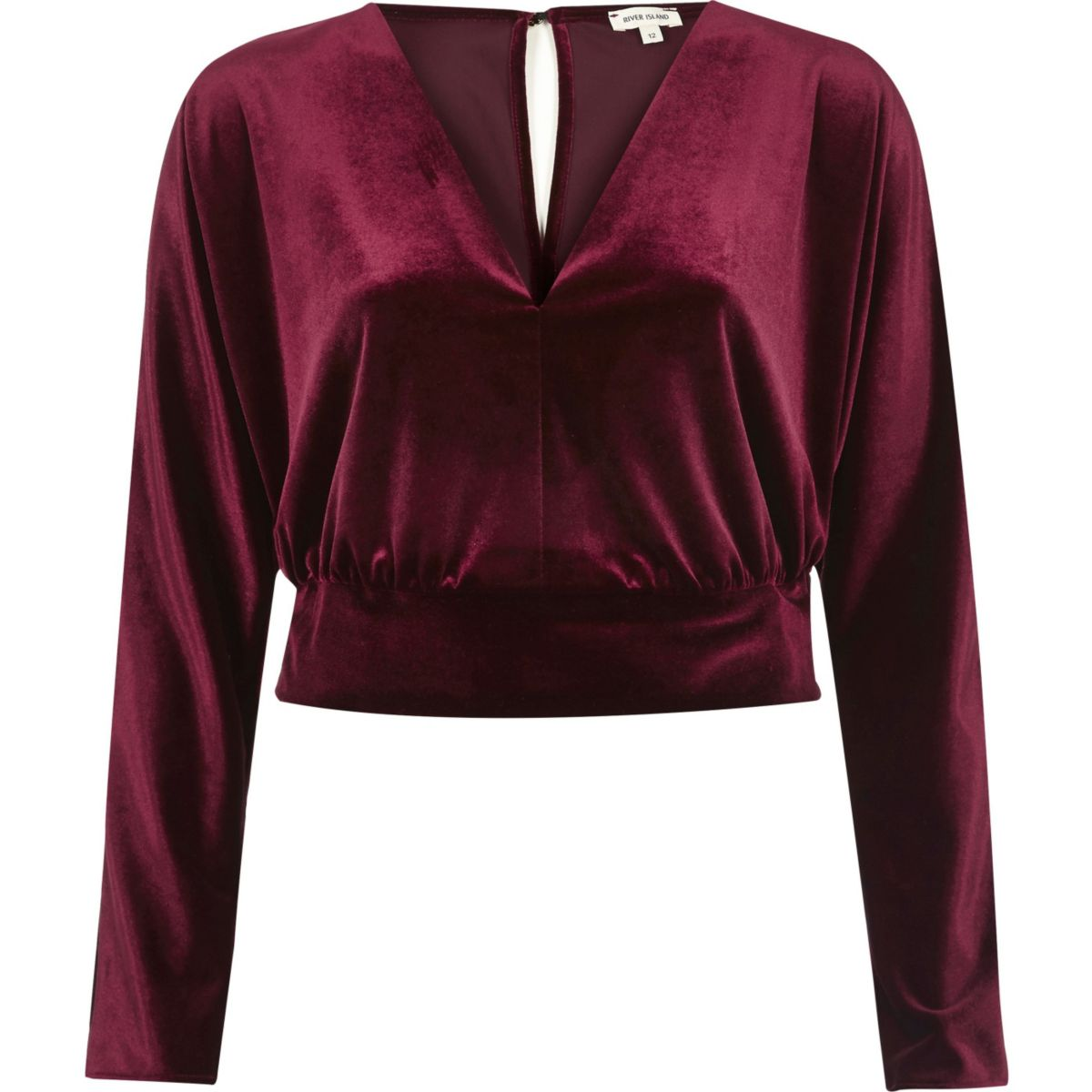 Dark red velvet long sleeve crop top