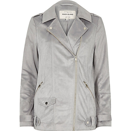 Grey faux suede oversized aviator jacket