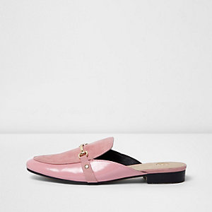 Pink chain backless loafers