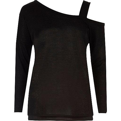 Zwarte top met bandje over één schouder