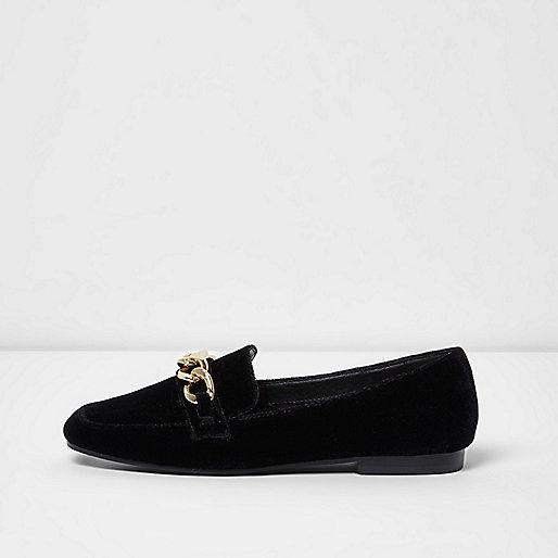 Black velvet gold tone chain loafers