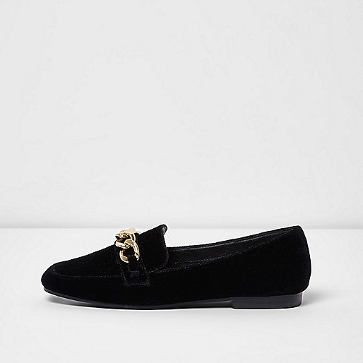 Black velvet gold tone chain loafers