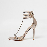 Rose gold diamante T-bar sandals