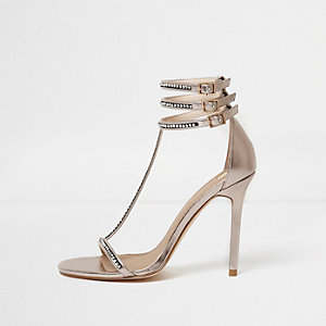 Rose gold rhinestone T-bar sandals