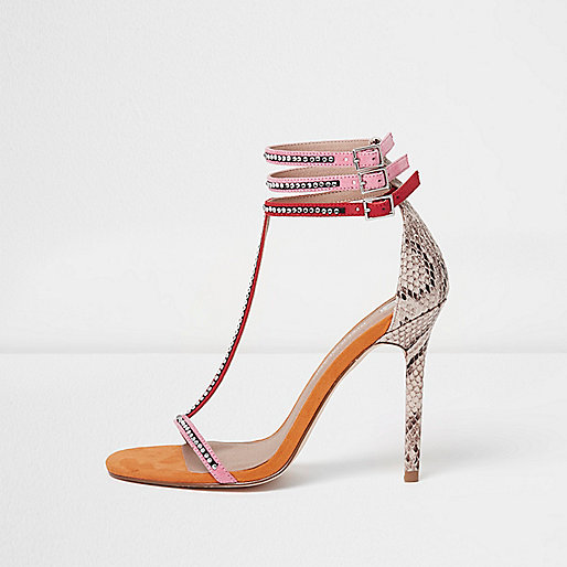 Pink T-bar snake embossed stiletto sandals