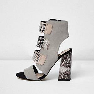 Grey snake strappy eyelet block heel sandals