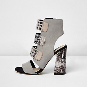 Grey snake strappy eyelet block heel sandals
