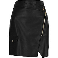 Black leather look wrap mini skirt