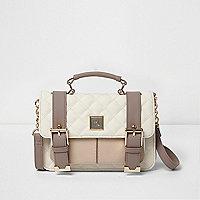 Beige and cream quilted mini satchel
