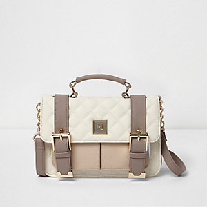 Beige and cream quilted mini satchel