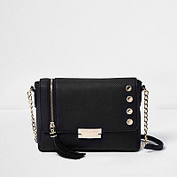 Black tassel chain strap cross body bag