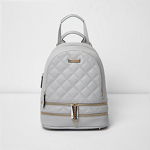 Grey quilted zip backpack