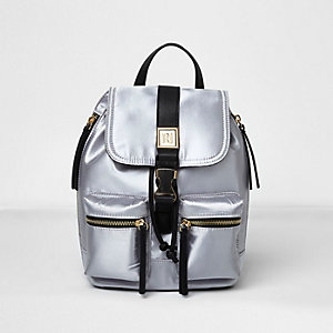 Silver satin mini backpack