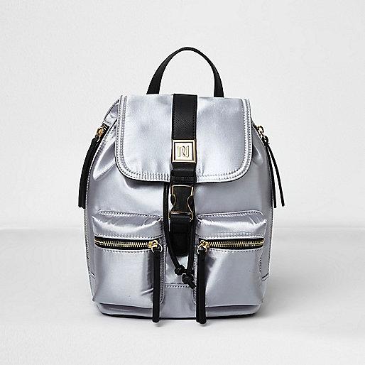 Silver satin mini backpack