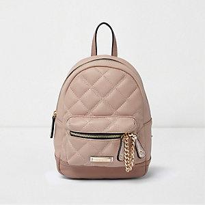 Gesteppter Mini-Rucksack in Rosa