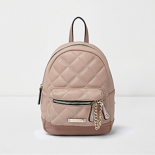 Pink mini quilted backpack