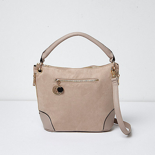 Beige zip detail crossbody bag