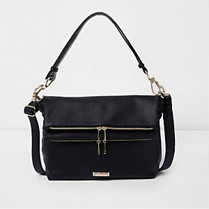 Black foldover slouchy crossbody bag