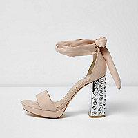 Chaussures à plateforme et talon chair ornées à lacets