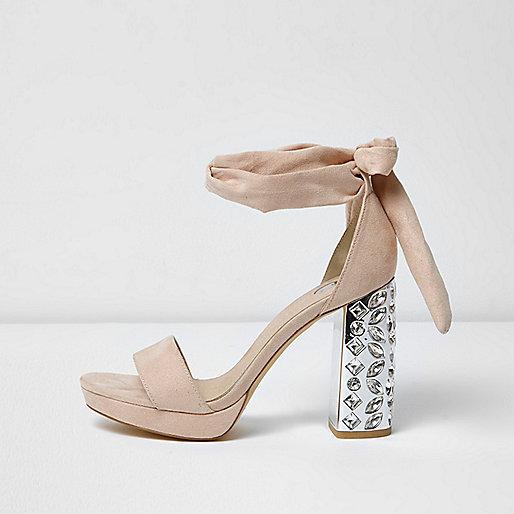 Nude embellished tie up platform heels