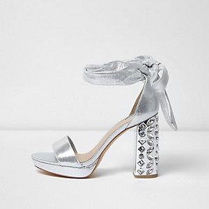 Silver embellished tie up platform heels