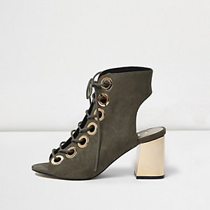 Khaki metallic heel lace up shoe boots