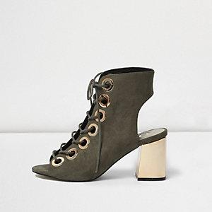 Khaki metallic heel lace up shoe boots