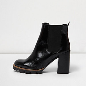 Black textured leather patent ankle boots