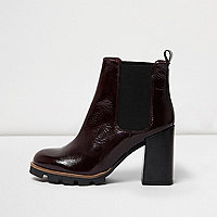 Dark red textured leather patent ankle boots