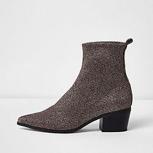 Gold lurex glitter boots