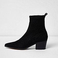 Schwarze, glitzernde Lurex-Stiefel