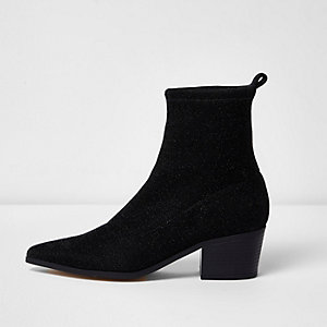 Black lurex glitter boots