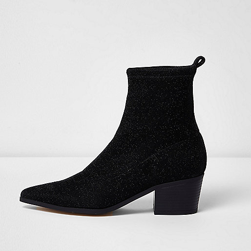 Bottines en lurex noires à paillettes