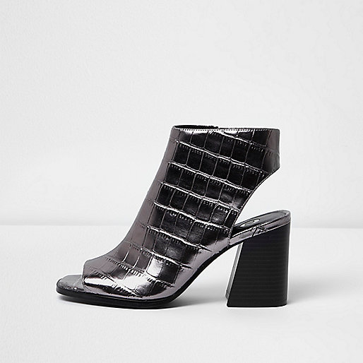 Silver crocodile effect peep toe shoe boots