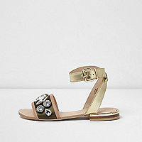 Khaki green gem strap sandals