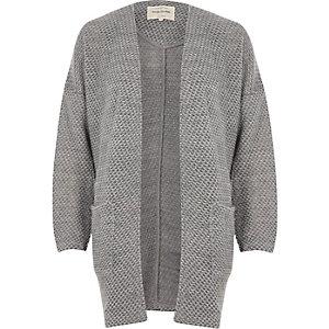 Grey casual long jersey jacket