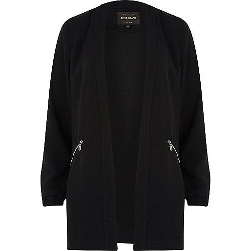 Black woven jacket with zips