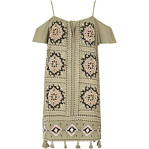 Khaki green embroidered cold shoulder dress