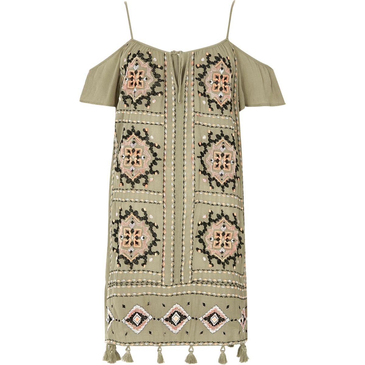 Khaki green embroidered cold shoulder dress