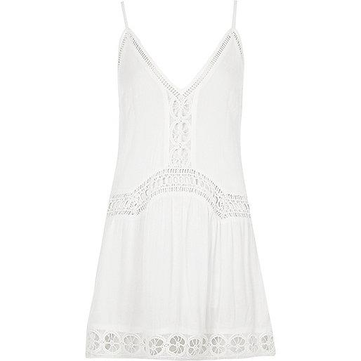 White lace insert drop waist beach dress