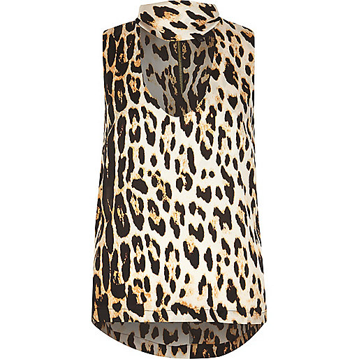 Brown leopard print choker top