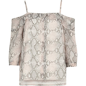Pink snake print placket cold shoulder top