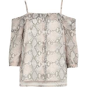 Pink snake print placket cold shoulder top