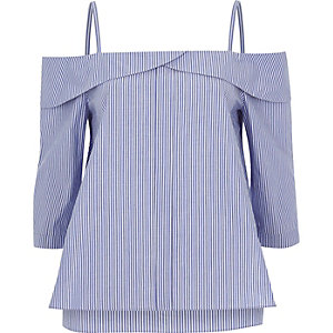 Blue stripe placket cold shoulder top