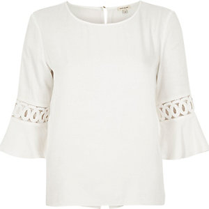 White cord insert trumpet sleeve top
