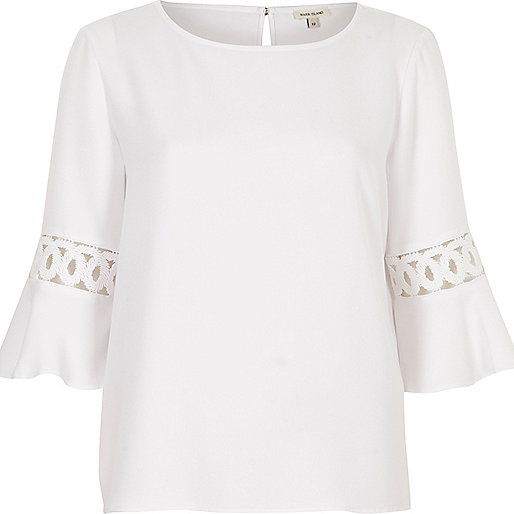 White cord insert bell sleeve top