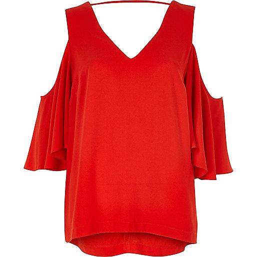 Red frill cold shoulder top