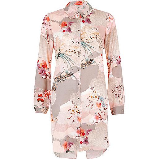 Langes Hemd in Pink