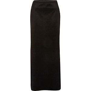Black velvet side split maxi skirt
