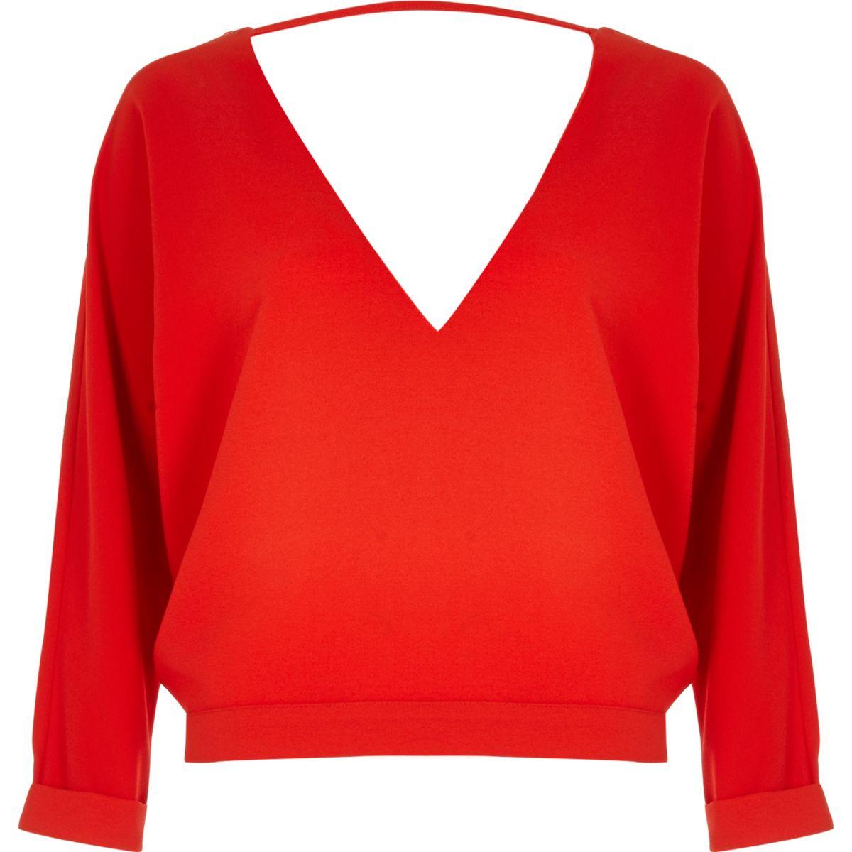 Red plunge strap back top